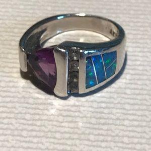 925 Fire Opal/Amethyst Ring